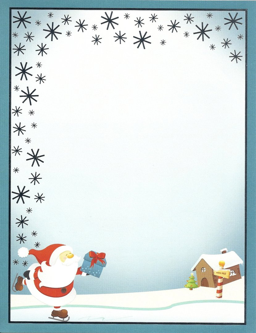 Letterhead Ice Skating Santa Paper Direct- Doreens Briefpapierwelt