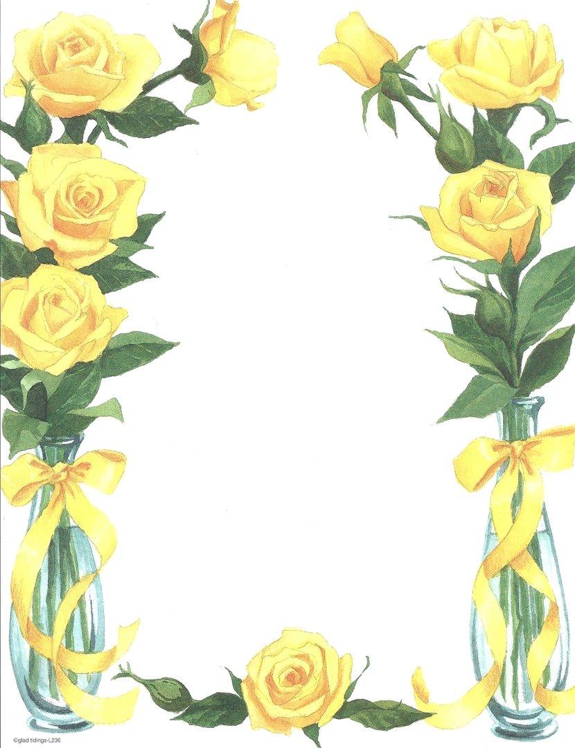 Top Briefpapier Gelbe Rosen Glad Tidings- Doreens Briefpapierwelt #DK_49