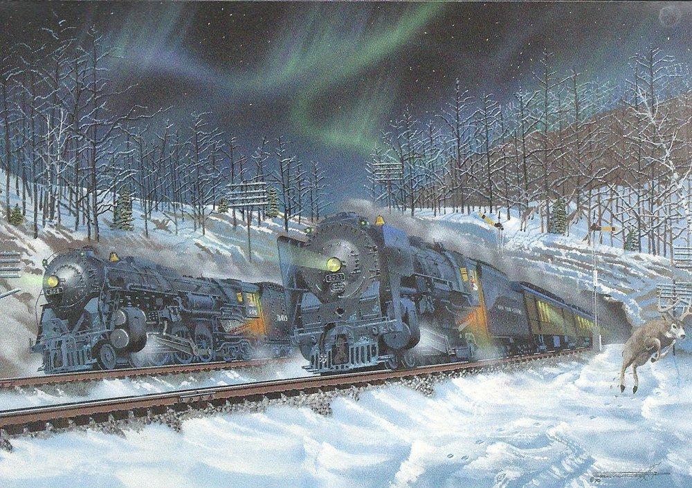 Christmas Card Train Leanin Tree- Doreens Briefpapierwelt