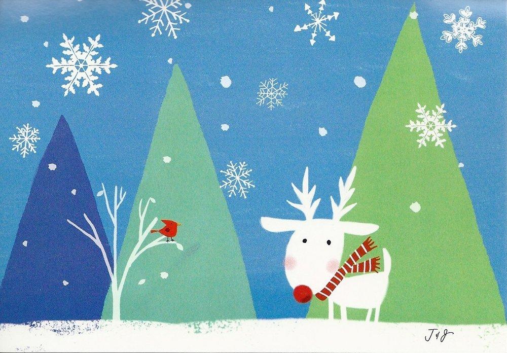 Christmas Card Rudolph Leanin Tree USA- Doreens Briefpapierwelt