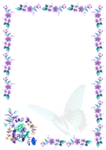 Letter Paper Blue Butterfly and violet Flower Border ehre_bern ebay