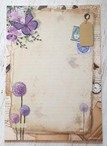 Briefblock A4 Purple Flowers Meerleuks 50 Blatt